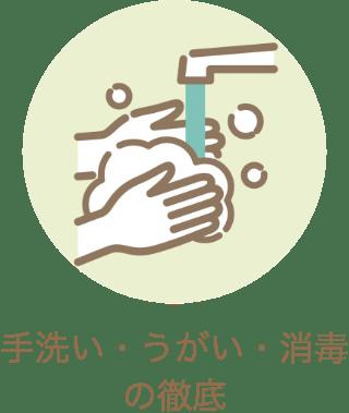 手洗い・うがい・消毒の徹底