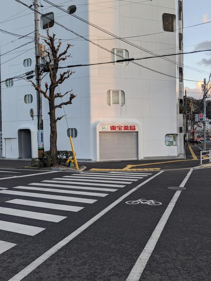 横断歩道を渡ったら左折してください